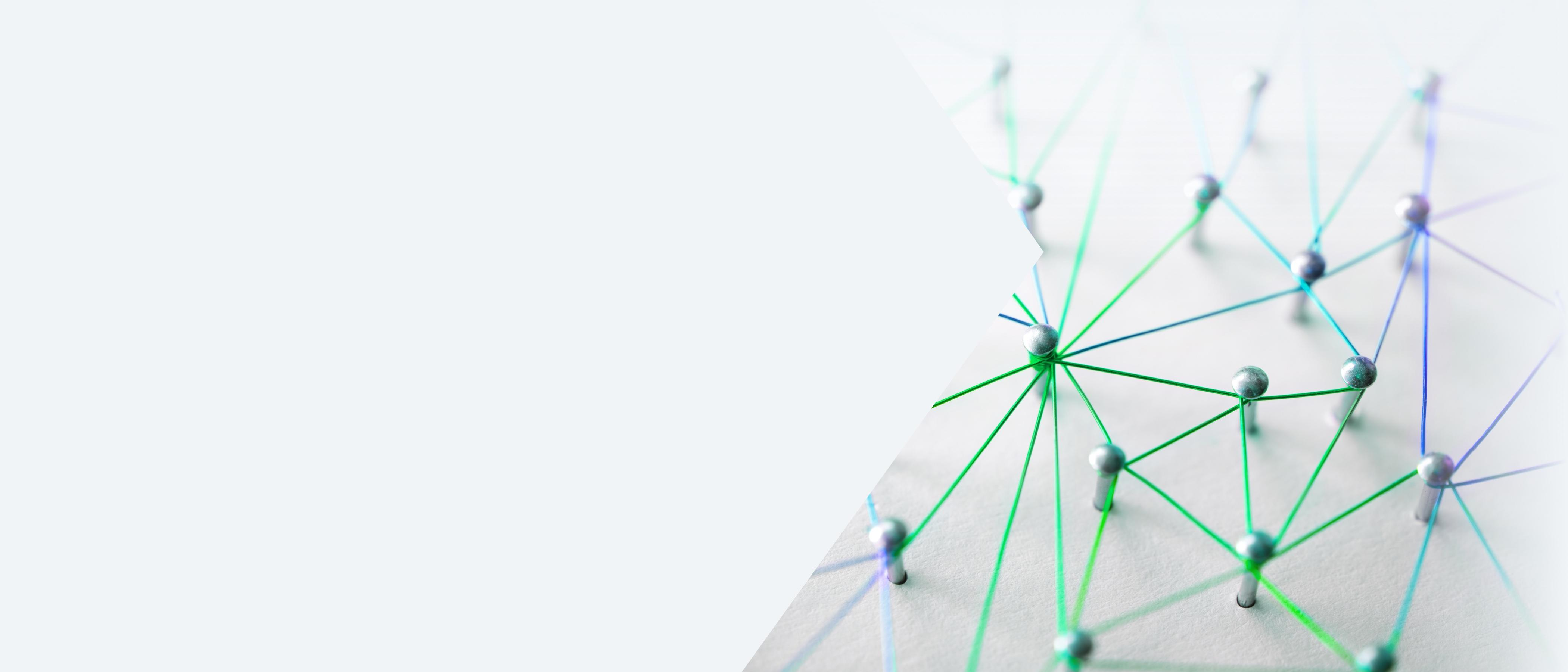 Web of blue, purple, and green wires on a white background