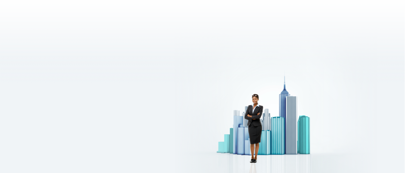Confident business woman standing in front of miniature city
