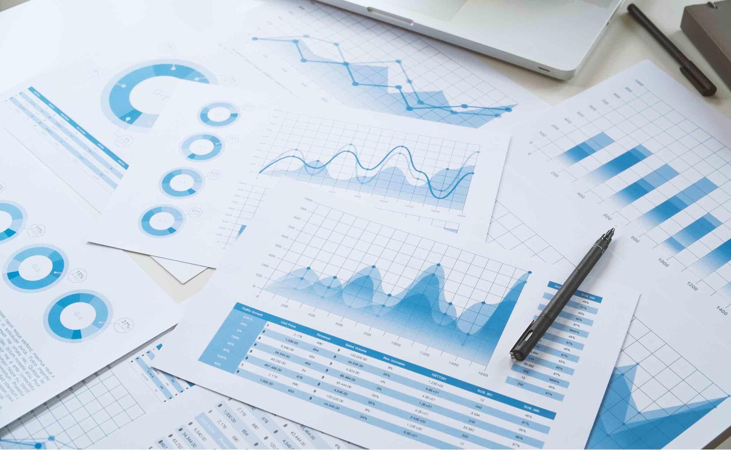 Multiple financial analysis documents and charts