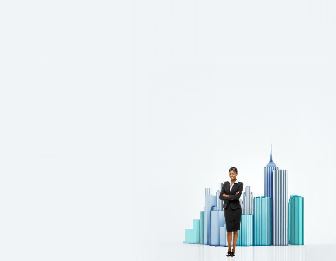 ; AML Business woman standing in front of a city